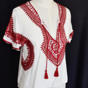 FOREVER 21 Blouse Top S Red Embriodered Lace Red T